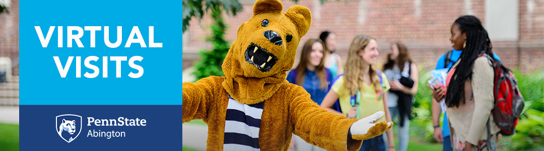 Penn State Abington Virtual Visits - Nittany Lion Mascot with students