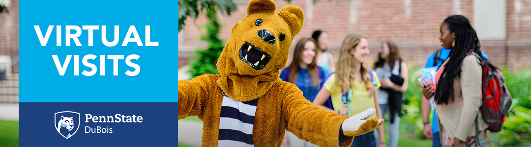 Penn State DuBois Virtual Visits - Nittany Lion Mascot with students