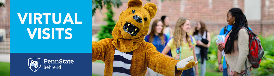 Penn State Behrend Virtual Visits - Nittany Lion Mascot with students